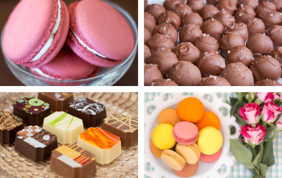 Macarons, chocolates, truffles,