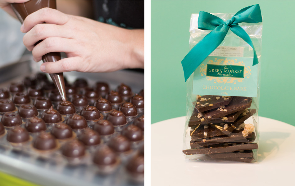 Chocolate Ganache and Chocolate Bark by The Green Monkey Chocolatier in Barbados