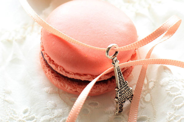 Macaron with Eiffel Tower pendiant
