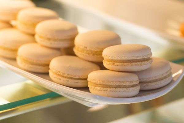 vanilla macarons in the boutique