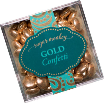 Gourmet gold confetti candy packaged and sold in Barbados