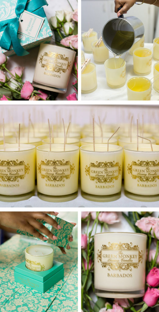 Images of The Green Monkey Luxury Candles being made, packaged and displayed