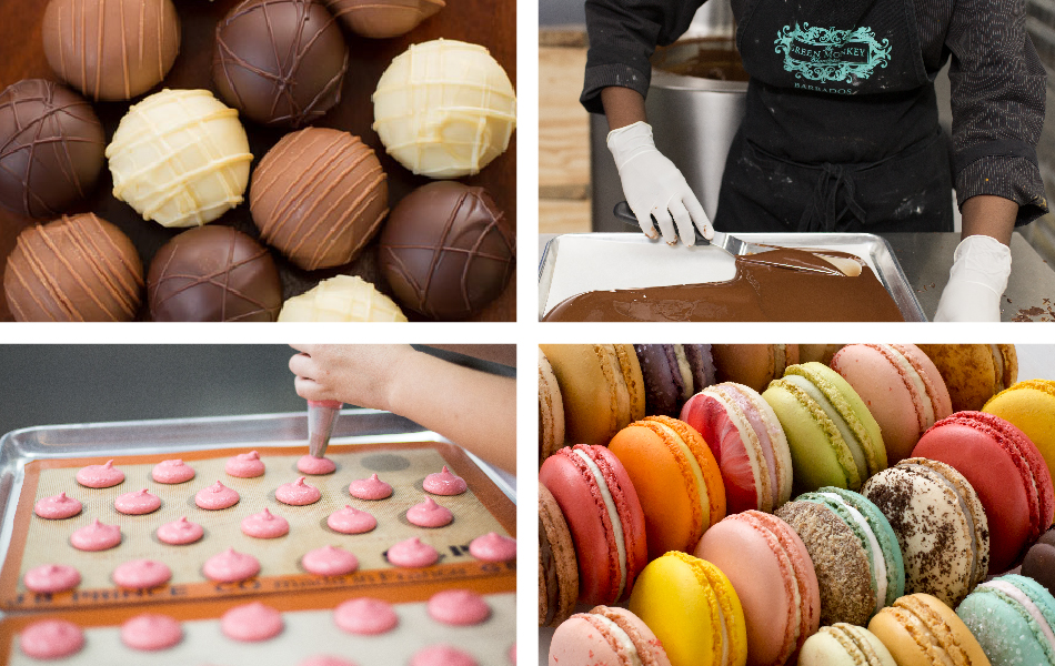 Rum Collection chocolates, Chocolate bark being made in Barbados, Handpiped macarons, an array of macarons